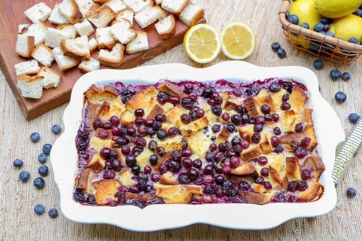 Blueberry Lemon Overnight French Toast Bake (Gluten-Free)