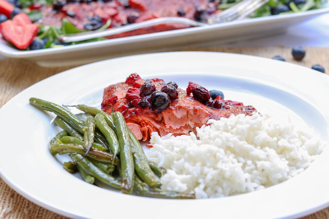 Mixed Berry Salmon (30 minute meal, gluten-free)