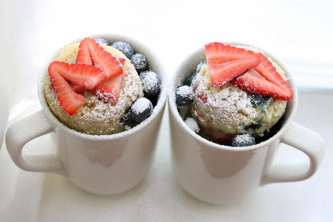 Berry Vanilla Red, White & Blue, Mug Cakes (GF, DF)