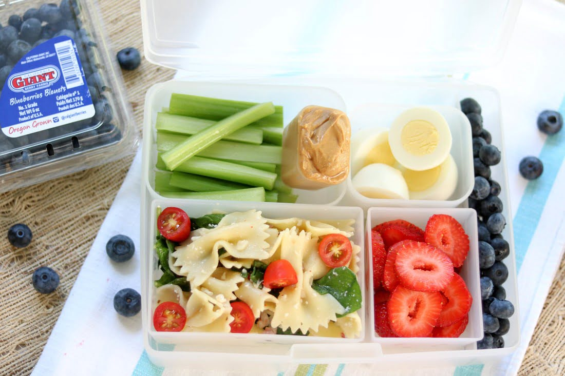 Pasta Salad Bento Box with Berries