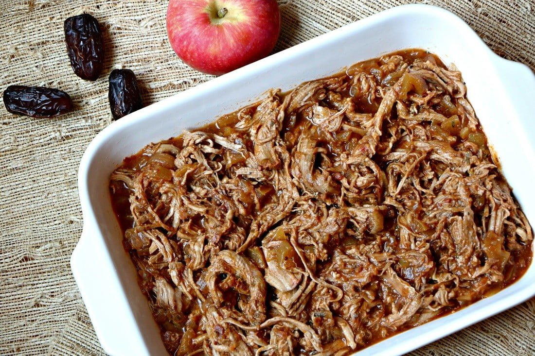 Sweet and Spicy Pulled Pork Tenderloin with Apples, Medjool Dates and spices.