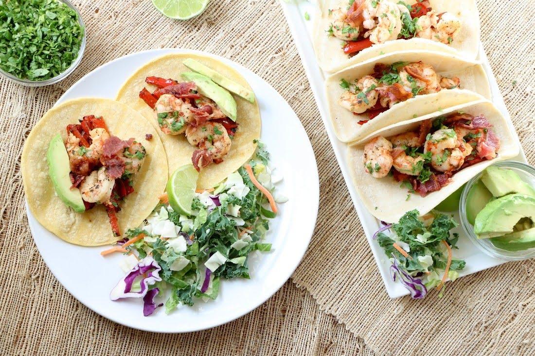Shrimp Bacon Tacos, Gluten-Free, Dairy-Free