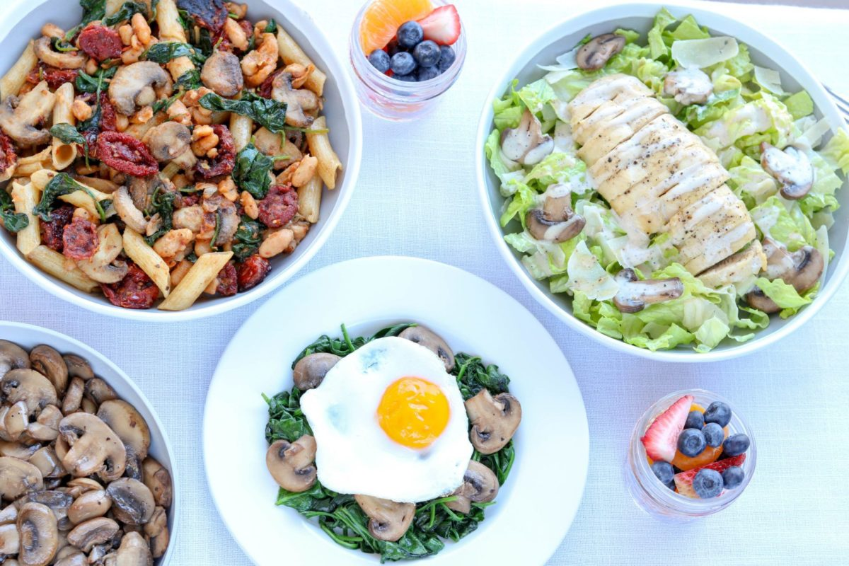 Mushrooms in breakfast, lunch and dinner