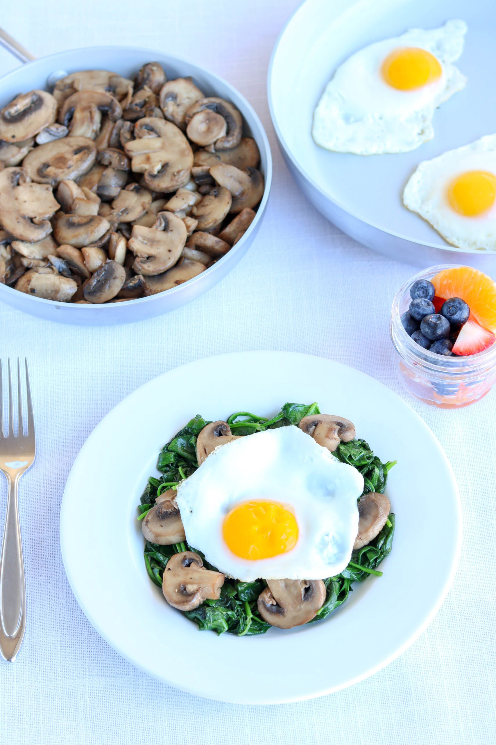 Sauteed Mushrooms with Eggs and Spinach