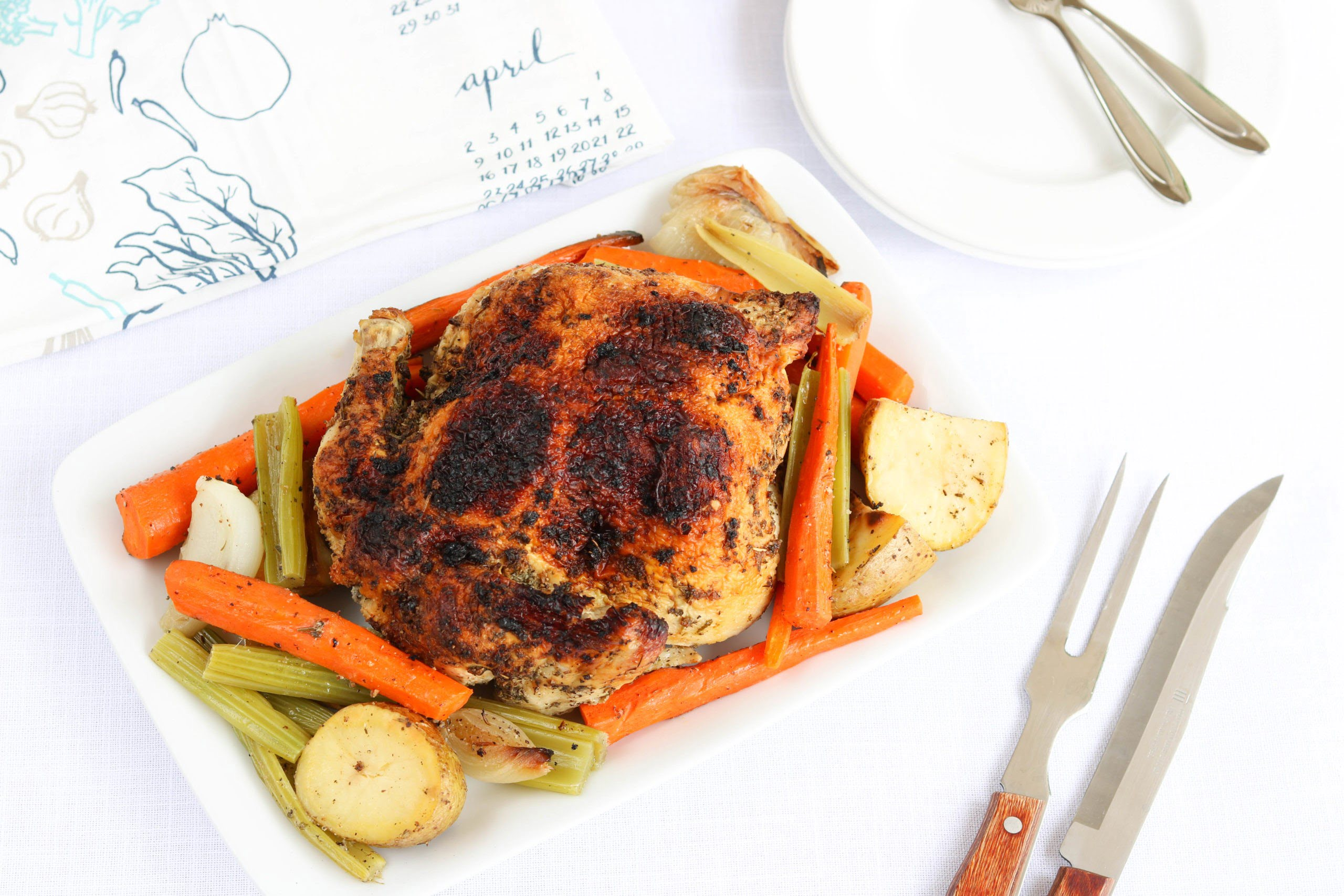 Whole Roased Chicken with Vegetables